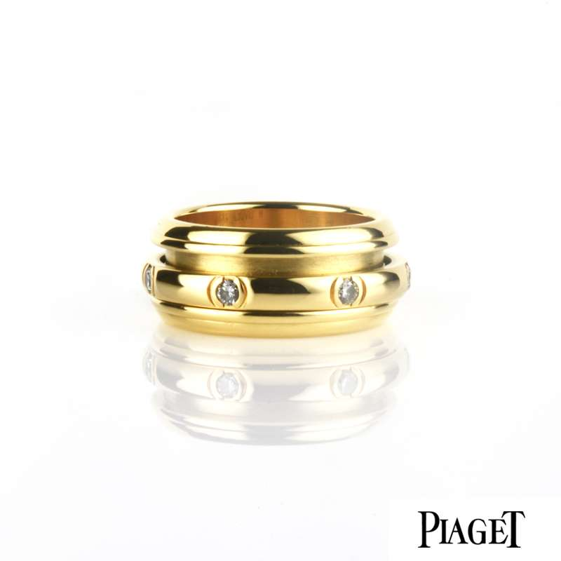 Piaget 18k Yellow Gold Diamond Set Possession Ring Size 52